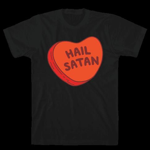 Hail Satan Conversation Heart Valentine's Parody White Print Mens T-Shirt