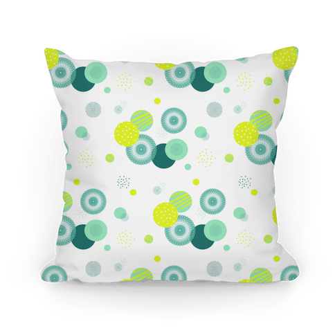White Radials and Circles Pattern Pillow