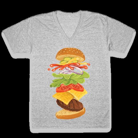 Anatomy Of A Burger V-Neck Tee Shirt
