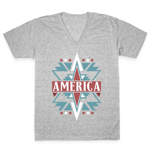 American Pattern V-Neck Tee Shirt