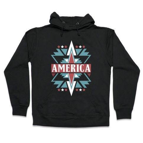 American Pattern Hooded Sweatshirt