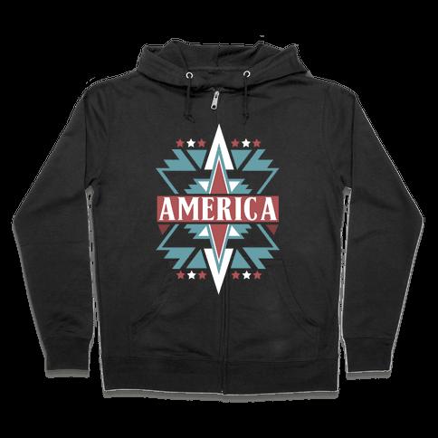 American Pattern Zip Hoodie