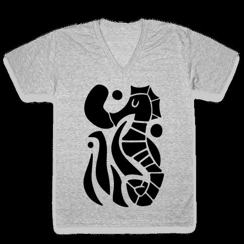 Bubbly Seahorse V-Neck Tee Shirt