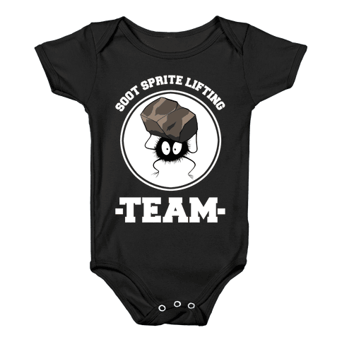 Soot Sprite Lifting Team Baby Onesy