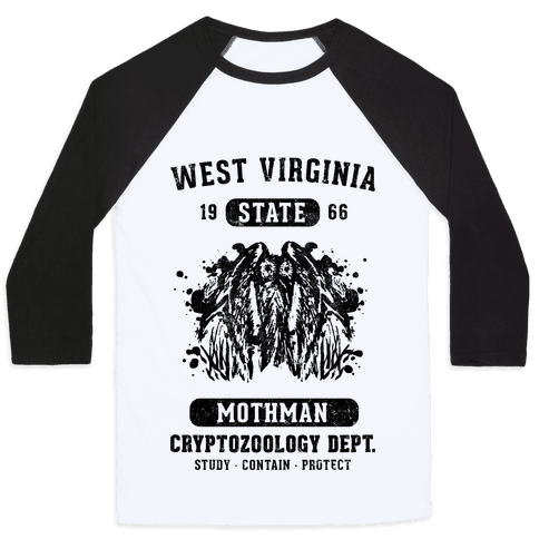 West Virginia Mothman Cryptozoology Baseball Tee