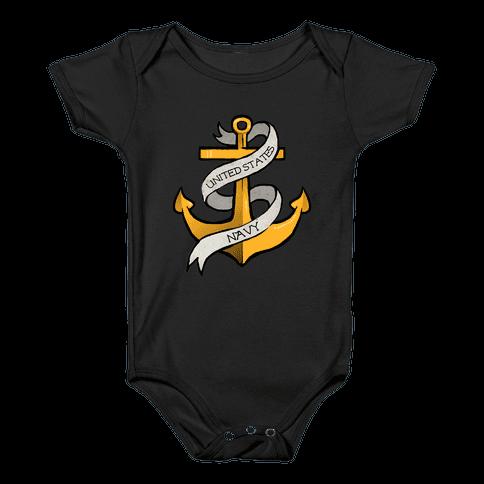 Navy Anchor Baby Onesy