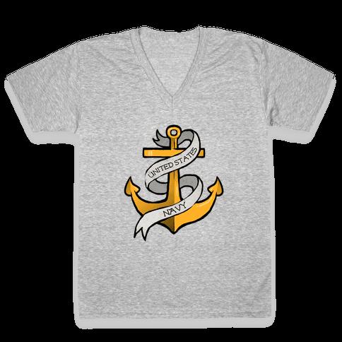 Navy Anchor V-Neck Tee Shirt