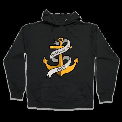 Navy Anchor Hooded Sweatshirt