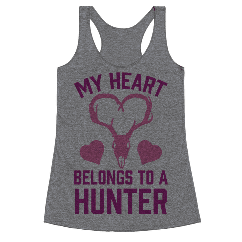 My Heart Belongs To A Hunter Racerback Tank Top