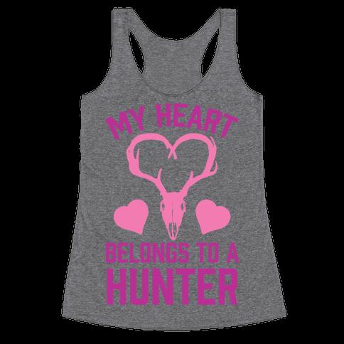 My Heart Belongs To A Hunter Racerback Tank Top