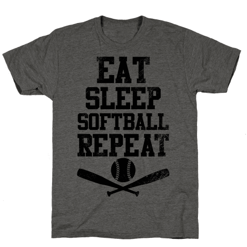 Eat Sleep Softball Repeat (Vintage) Mens T-Shirt