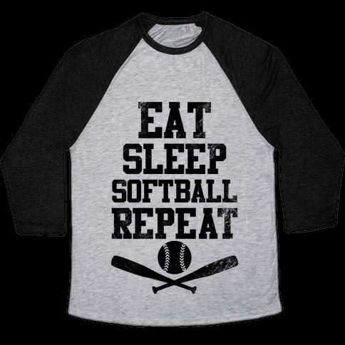 Eat Sleep Softball Repeat (Vintage) Baseball Tee