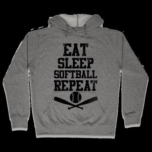 Eat Sleep Softball Repeat (Vintage) Hooded Sweatshirt