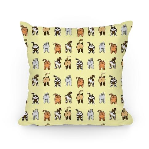 Yellow Cat Butt Pattern Pillow