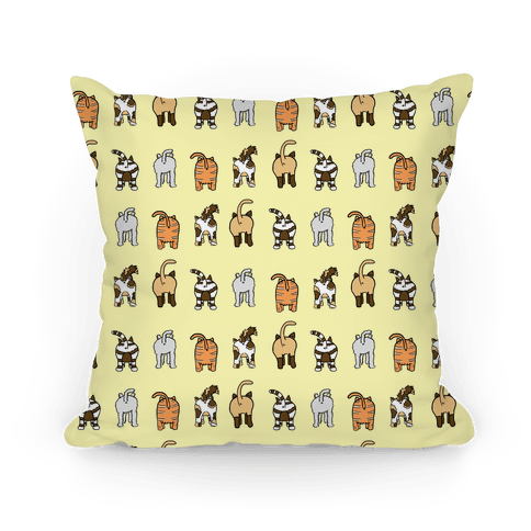 Yellow Cat Butt Pattern Pillow