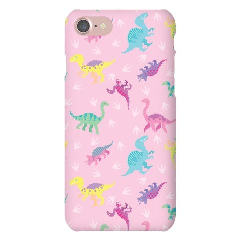 Cute Pastel Pixel Dinosaur Pattern Phone Case