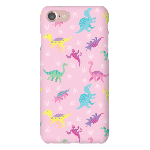 Cute Pastel Pixel Dinosaur Pattern Phone Case