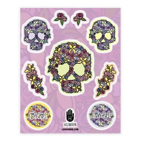Floral Skull Sticker and Decal Sheet