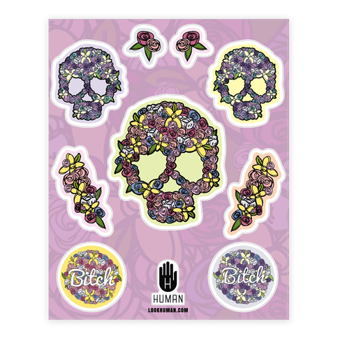 Floral skull sticker decal sheet