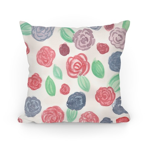Watercolor Floral Pattern Pillow