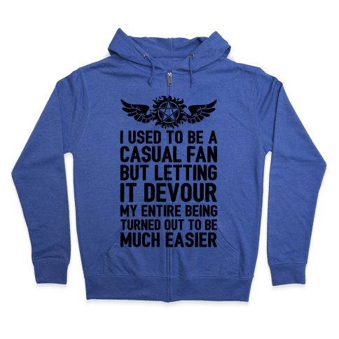 I Used To Be A Casual Fan (Supernatural) Zip Hoodie
