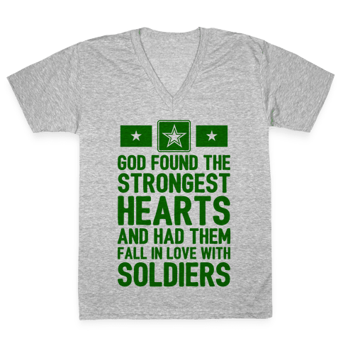God Found The Strongest Hearts (Army) V-Neck Tee Shirt