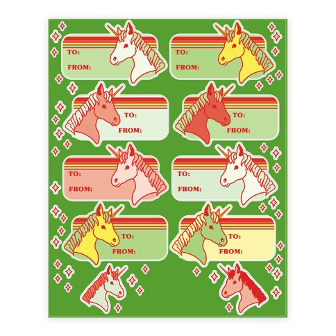 Unicorn Christmas Gift Tag  Sticker/Decal Sheet