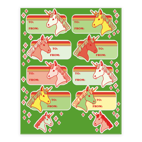 Unicorn Christmas Gift Tag Sticker and Decal Sheet