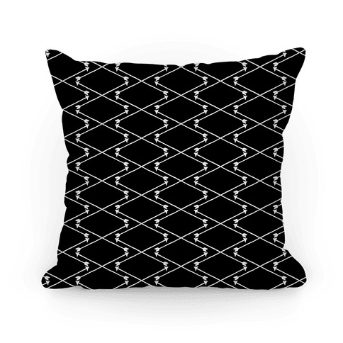 Black and White Hipster Bow Arrow Crisscross Pattern Pillow