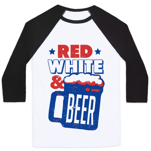 Red White & Beer Baseball Tee