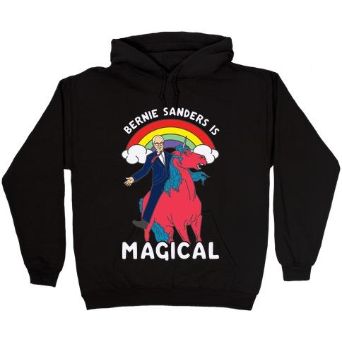 Bernie Sanders on a Magical Unicorn Hooded Sweatshirt