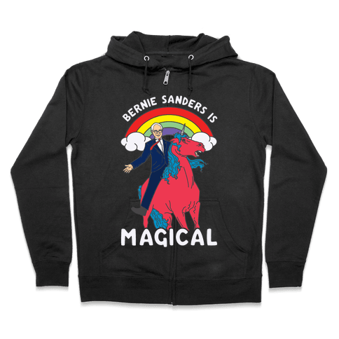 Bernie Sanders on a Magical Unicorn Zip Hoodie