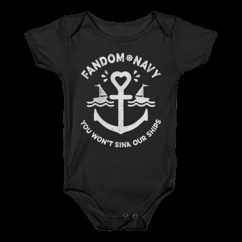 Fandom Navy Baby Onesy