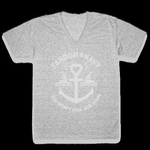 Fandom Navy V-Neck Tee Shirt