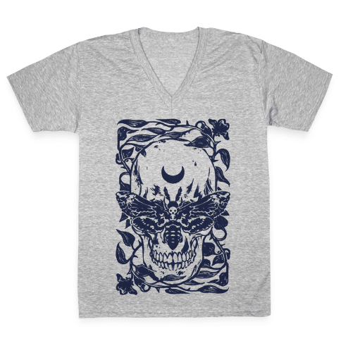 Skull Moth V-Neck Tee Shirt