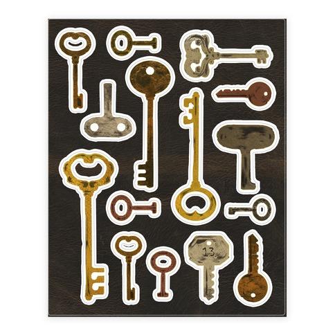 Antique Key Sticker/Decal Sheet
