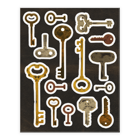 Antique Key  Sticker/Decal Sheet