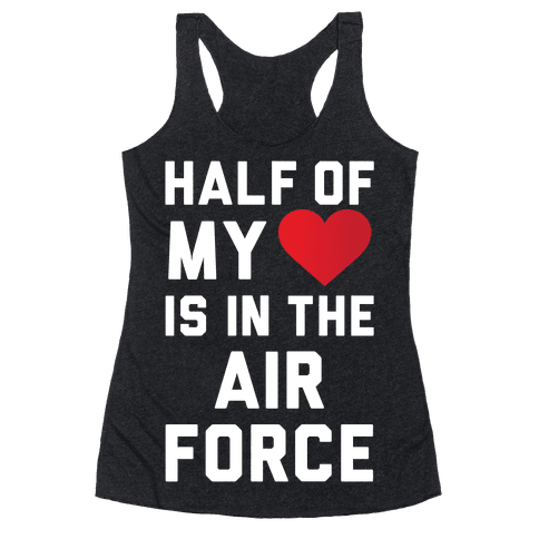 Half My Heart Is In The Air Force Racerback Tank Top