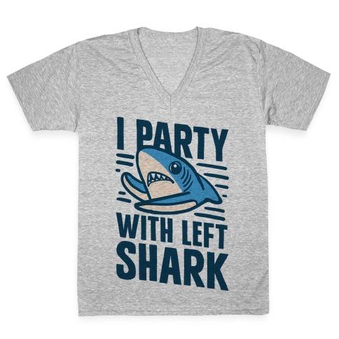 I Party With Left Shark V-Neck Tee Shirt