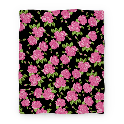Black and Pink Floral Pattern Blanket