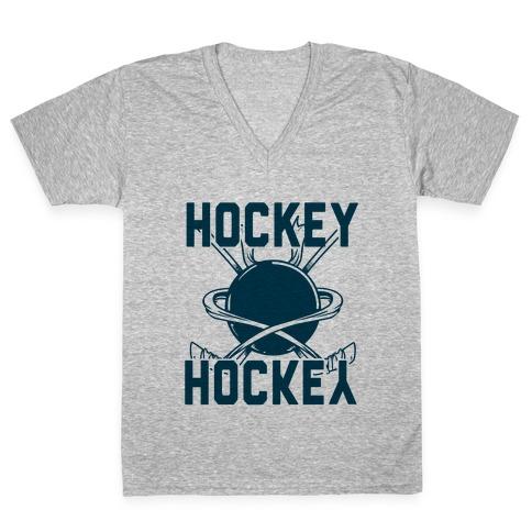 Hockey Upside Down is Still Hockey! V-Neck Tee Shirt