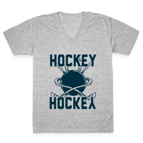 Hockey Upside Down is Still Hockey! V-Neck Tee Shirt
