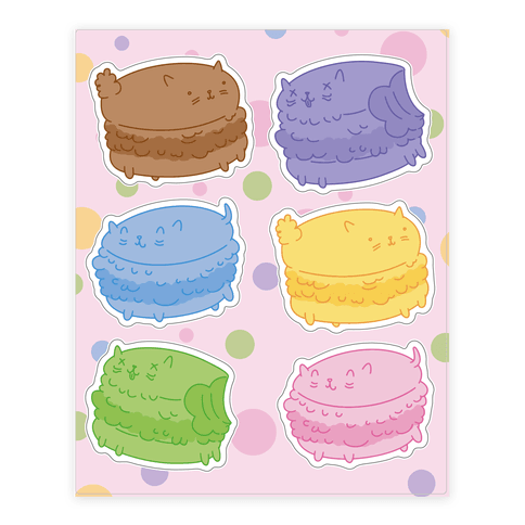 Cat Macarons  Sticker/Decal Sheet