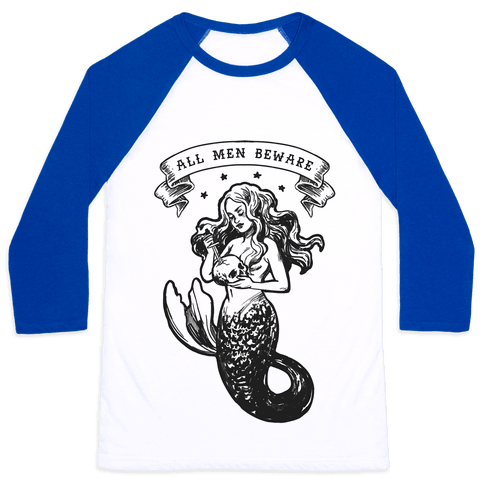 All Men Beware Vintage Mermaid Baseball Tee