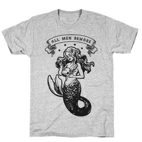 All Men Beware Vintage Mermaid T-Shirt
