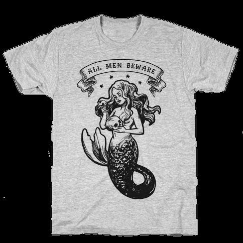 All Men Beware Vintage Mermaid Mens T-Shirt
