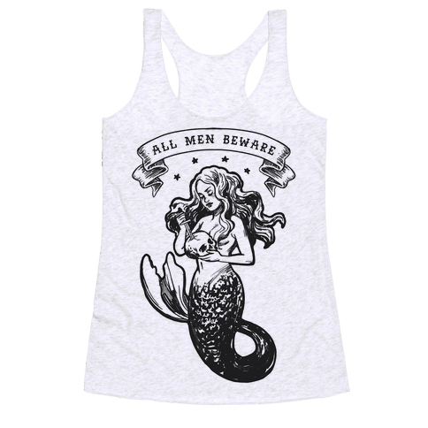 All Men Beware Vintage Mermaid Racerback Tank Top