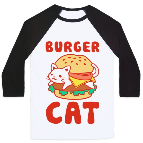Burger Cat (Text) Baseball Tee