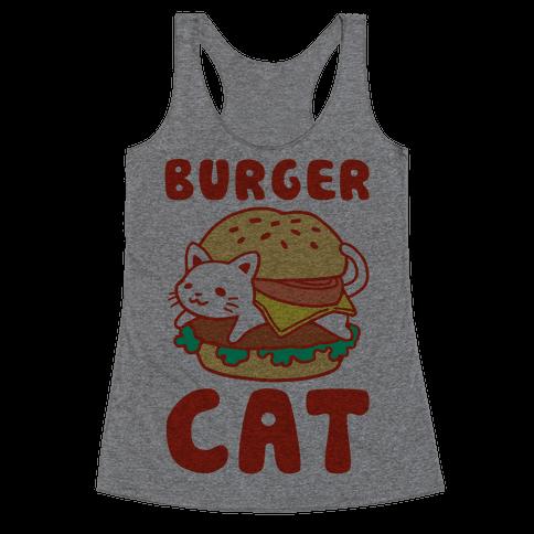 Burger Cat (Text) Racerback Tank Top