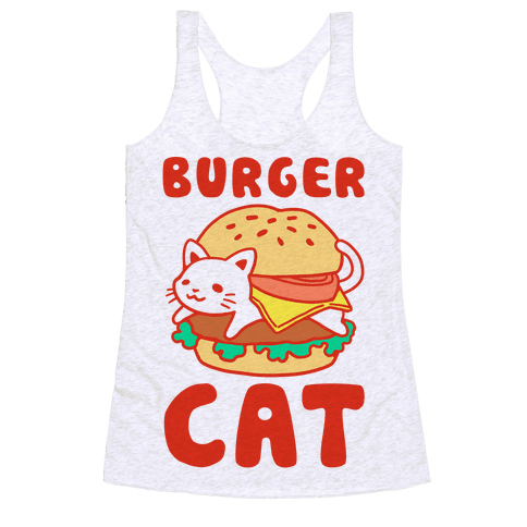 Burger Cat (Text) Racerback Tank Top